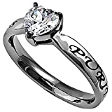 Spirit & Truth Christian Purity CZ Heart Solitaire...