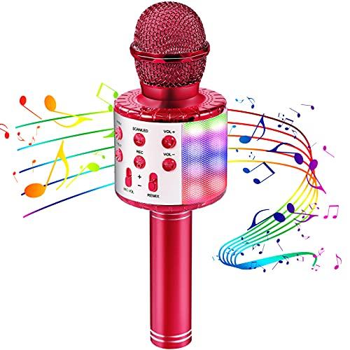 OALYGEI Microfono Inalámbrico Karaoke, Micrófono para Niños Portátil con Altavoz y LED, Micrófono Karaoke para Niños Canta Partido Musica, Compatible con Android/iOS/PC/AUX