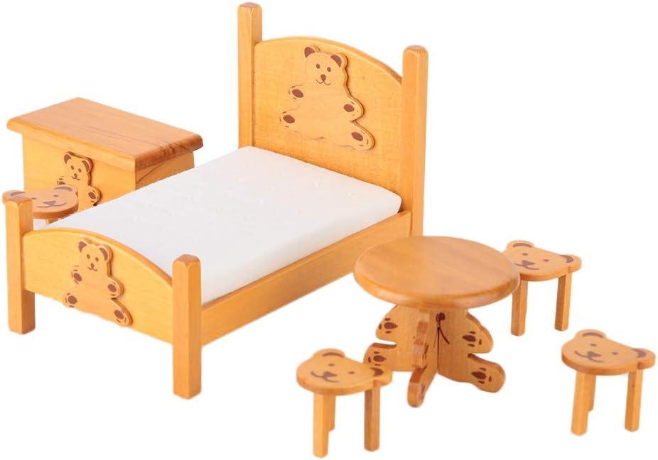 Haokaini 1:12 Miniature Bed Chair Set Desk Very Be super welcome popular Bedroom Mini Furnitur