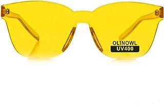 a0c813bab3 OLINOWL Oversized Square Rimless Sunglasses Tinted Unisex Women Men One  Piece colored Transparent Eyewear Retro Eyeglasses