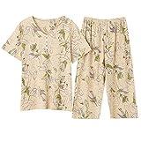 Pijamas de Talla Grande M-4XL para Mujer, Pijamas Suaves de Verano de Manga Corta, Pijamas con Estampado de Animales Birld, Pijamas Femeninos