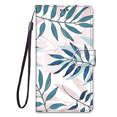 Miagon Full Body Flip PU Leder Schutzhülle für Huawei P Smart 2020,Bunt Muster Hülle Brieftasche Case Cover Ständer mit Kartenfächer,Blatt