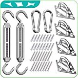 HELEMAN Shade Sail Hardware Kit 5 Inch for Rectangular/Square/Triangular Sun Shade Sail Installation in Patio Lawn and Garden, Anti-Rust Sail Shade Hardware Kit of Heavy Duty (40Pcs)