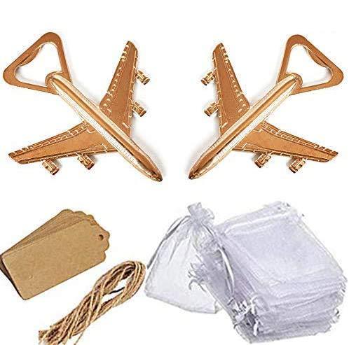 Amajoy - Confezione da 25 apribottiglie a forma di aeroplano con sacchetto in carta kraft bianca per bomboniere, bomboniere per matrimonio, baby shower, regali di ritorno a tema