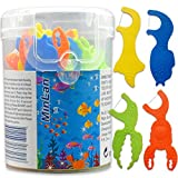 MinLan Kids Dental Floss Without Fluoride, Unflavored Kids Flossers, 50 Count, Soft and High Tensile, 4 Color Marine Animals Shapes Makes Flossing Fun