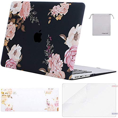 MOSISO Hülle Kompatibel mit MacBook Air 13 Zoll A1369/A1466, Hartschale Schutzhülle Kunststoff Hülle mit Tastaturschutz (EU Layout) mit Displayschutzfolie mit Aufbewahrungstasche, Rosa Pfingstrose