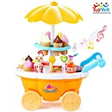 ToyVelt Ice Cream Toy Cart Play Set for Kids - 39-Piece Pretend Play Food - Educational Ice-Cream Trolley Truck with with Music & Lighting - Great Gift for Girls and Boys Ages 2 - 12 Years Old