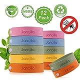 Janolia Mückenschutz Armband, 12 Stück Insektenschutz-Armband, Reusable Repellent Wristband,...