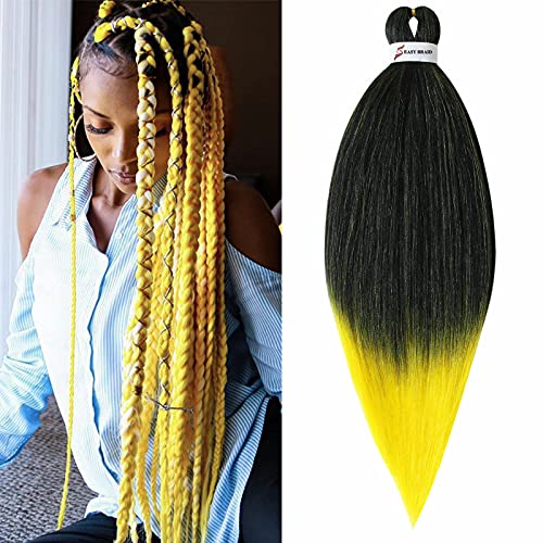 Treccine Capelli Extension Pre Stretched Braiding Hair Pre Alllungato Stirato Yaki Professionale Africane Capelli Sintetici Lunghi Sintetici Afro Ombre Crochet 1 Ciocche 65cm Nero&Giallo