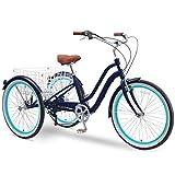 sixthreezero EVRYjourney 26 Inch 7-Speed Hybrid Adult Tricycle with Rear Basket, Navy, One Size (630333)