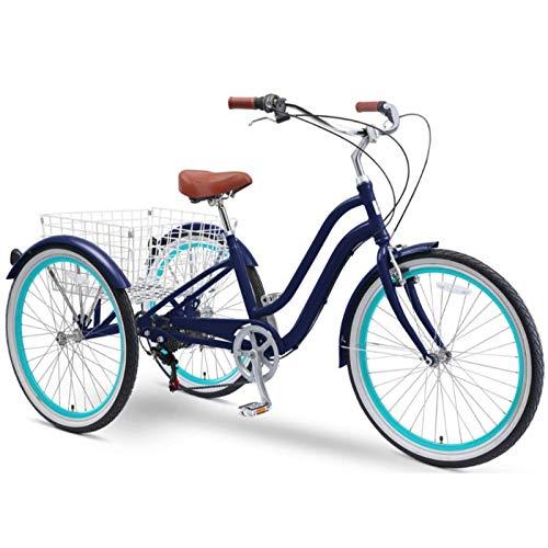 sixthreezero EVRYjourney 26 Inch 7-Speed Hybrid Adult Tricycle with Rear Basket, Navy, One Size (630333) Arkansas