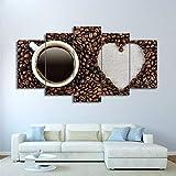IIIUHU Cuadro en Lienzo Taza de café con Granos en Forma de corazón 150x80cm - XXL Impresión Material Tejido no Tejido Artística Imagen Gráfica Decoracion de Pared - 5 Piezas - Listo para Colgar