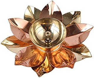 Aatm Brass and Copper Lotus Flower Designed Puja Diya Best for Home & Office Decoration & Gift Purpose Handicraft (5 Inch)