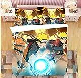 Nat999Lily Juego De Cama con Temática De Naruto, Juego De Funda Nórdica Impresa Digital En 3D De Dibujos Animados, Ropa De Cama De Microfibra Textiles para El Hogar 200X200Cm Estilo 2