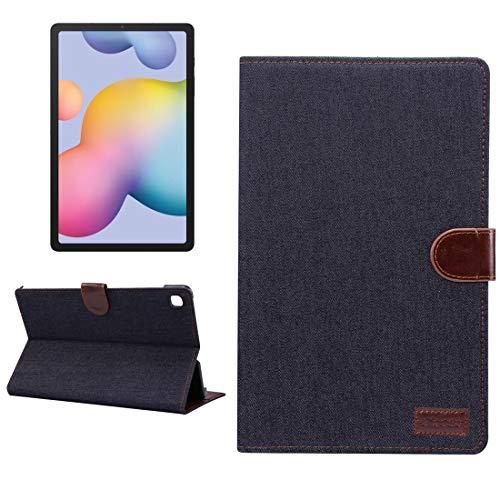MDYHMC YXCY AYDD - Funda para Galaxy Tab S6 Lite P610 / P615 (piel vaquera), diseño horizontal, con soporte, ranuras para tarjetas, cartera y función de reposo y despertador, color negro