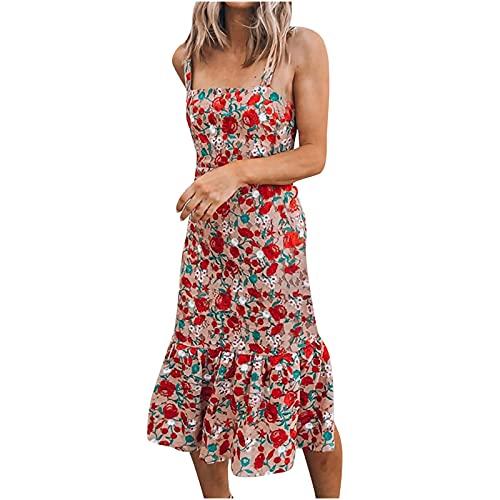 Vestido de verano para mujer, casual, vestido de playa, para mujer, con estampado floral, manga larga, cuello en V, casual, hasta la rodilla, suelto, vestidos sueltos, vestidos midi