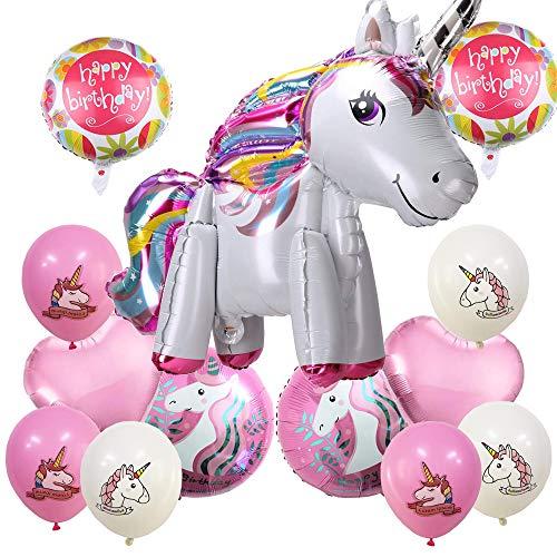DAYPICKER Einhorn Party Dekorationen Mädchen, 3D Folie Einhorn Luftballons mit Happy Birthday Crown Star Regenbogen Luftballons, Macaron Luftballons Partyangebot für Jungen Mädchen Erwachsene Einhorn