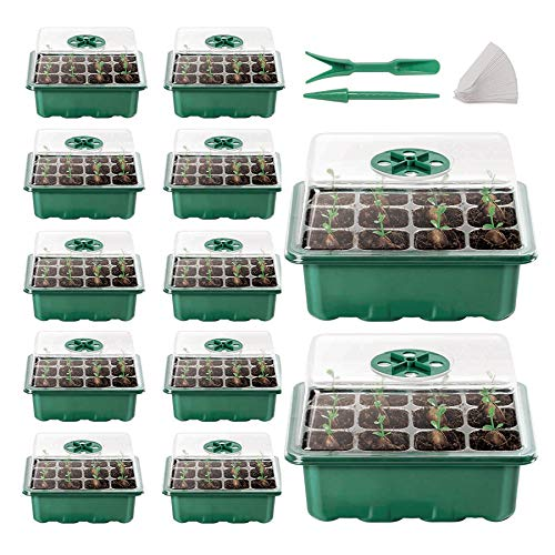 12-Pack Seed Trays Seedling Starter Tray(144 Cells),Humidity Adjustable Plant Tray Kit with Dome and Base Greenhouse Grow Set,Micro-Propagator for Seedling Growth Start(Green)
