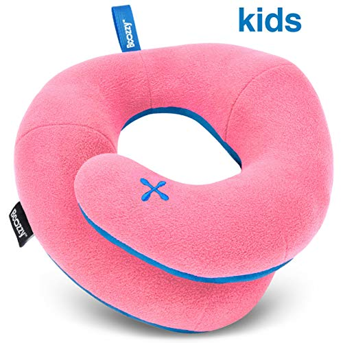 BCOZZY Kids- Travel Pillow- Supports Child's Head, Neck & Chin While Sleeping in Booster Carseat. Best Toddler Accessory & Activity for Traveling on Airplane and Road Trips. Pink