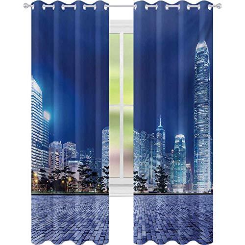 Cortinas de ventana con reducción de ruido, diseño de paisaje urbano de Hong Kong Skyline Night Architectural Cityscape Fotos modernas, W52 x L108 Blackout Drape para comedor, Royal Blue Purplegrey