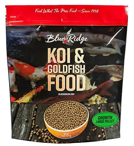 Blue Ridge Fish Food Pellets 5LB   Koi and Goldfish Growth Formula   Floating Large Pellet, Balanced Diet