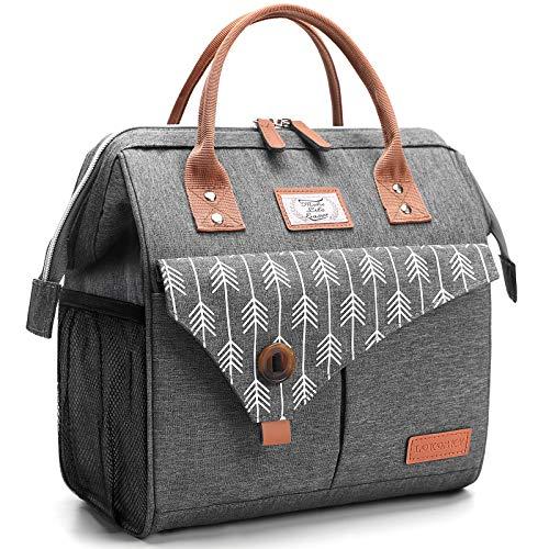 Lekesky Lunchtasche Isolierte Kühltasche für Frauen Auslaufsichere weit geöffnete Lunchbox, Grau