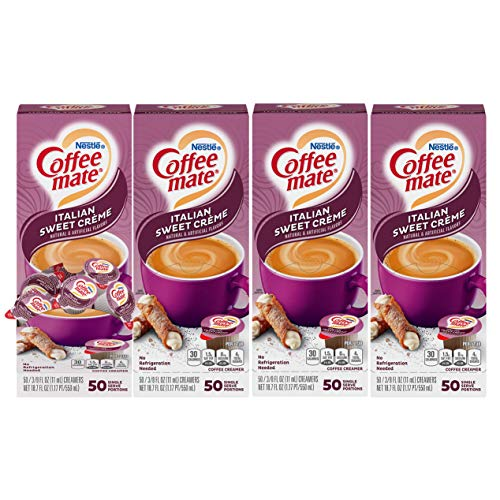 Nestle Coffee mate Coffee Creamer, Italian Sweet Creme, Liquid Creamer Singles, Box of 50 Singles (Pack of 4)