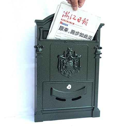 LICCC Briefkasten Europäischer Landhaus-Briefkasten-Außenwand-Schmiedeeisen-Briefkasten mit Verschluss-Postfach-Retro- Zeitungskasten