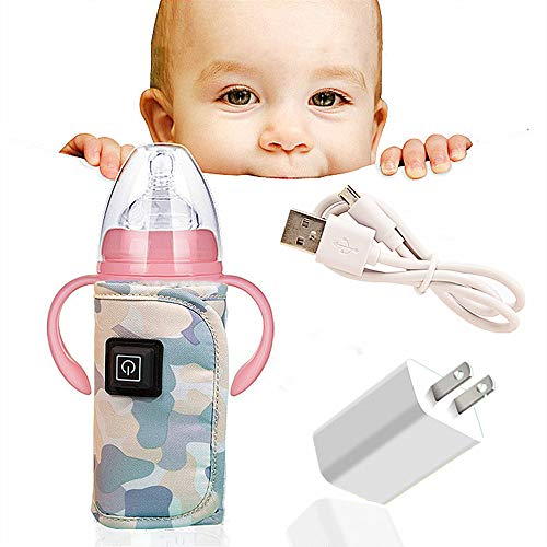 QUERLY Baby Bottle warmer cover, Portable Car Travel Bottle Warmer USB Milk Heat Keeper Maintain Milk Warm,Infant Feeding Bottle Thermostat for indoor,Outdoor, Traveling,Driving (Camouflage).