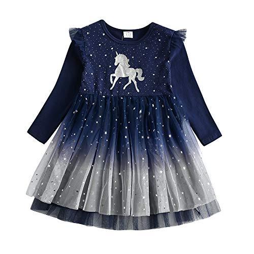 DXTON Mädchen Kleid Einhorn Gedruckt Prinzessin Freizeit Knielang Langarm Kleid Winter EinhornLh4995 5T