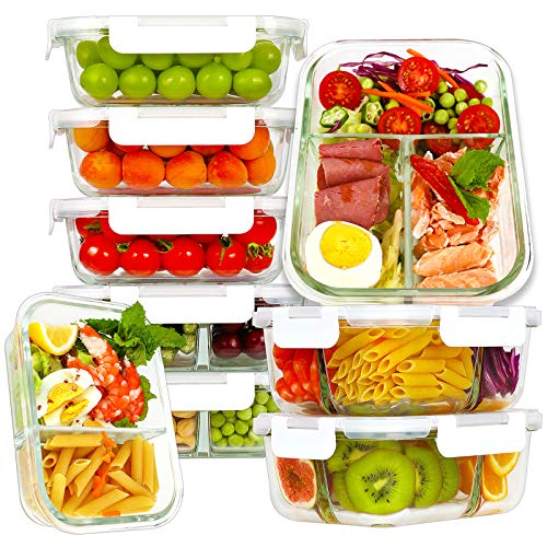 Bayco 9 Pack Glass Meal Prep Containers 3, 2, 1 Compartment