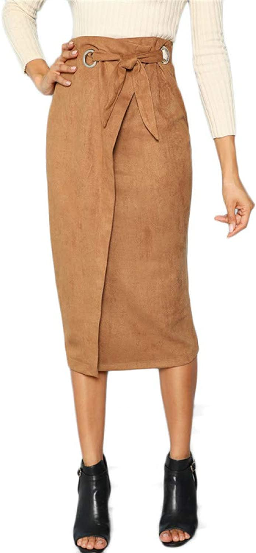 FSDFASS Skirt Brown Solid Workwear Tie Waist Wrap Long Skirt Autumn Midi Skirts Women Elegant OL Pencil Skirts