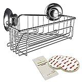 Gecko-Loc Suction Cup Shower Corner Caddy Bath Organizer - Bathroom Storage Basket (Silver, Corner)