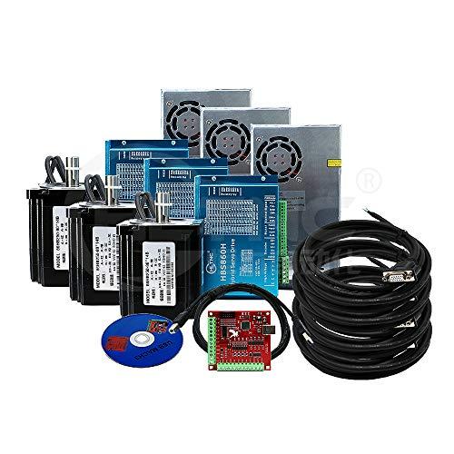 Kit de 3 piezas de motor CNC NEMA34 con circuito cerrado 86HSE 6A Hybrid Nema 34 HBS86H & 400W DC + 4 ejes MACH3 controlador USB