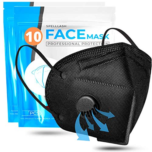 Face Mask Black with Breathing-Valve 10 Pack | Disposable Face Masks for Woman and Men 5 Layer Non-Woven | Face Mask for Protection | Breathable Face Mask Lightweight and Comfortable on Skin