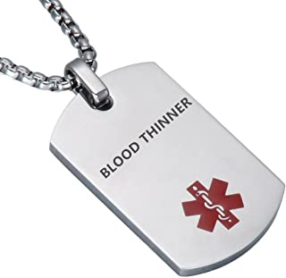 LiFashion LF Stainless Steel DNR Medical Alert Dog Tag ID Pendant Caduceus Necklace for Men Women Teens Health Alert Monitoring Systems(Do Not Resuscitate)