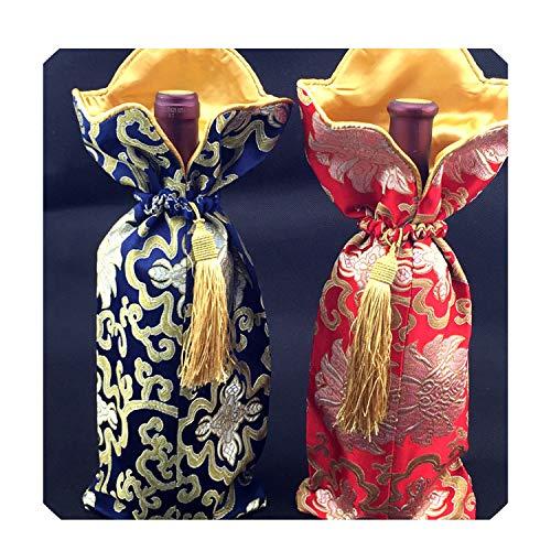 Bolsa para botella de vino, decoración de mesa, bolsa para botella de seda, bolsa para botella de vino china, 5 unidades 750 ml Mezcla de colores.