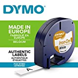 Dymo 18768 LetraTag Iron-on Fabric Labels LetraTag Label Makers, 12 mm x 2 m Roll - Black Print on White
