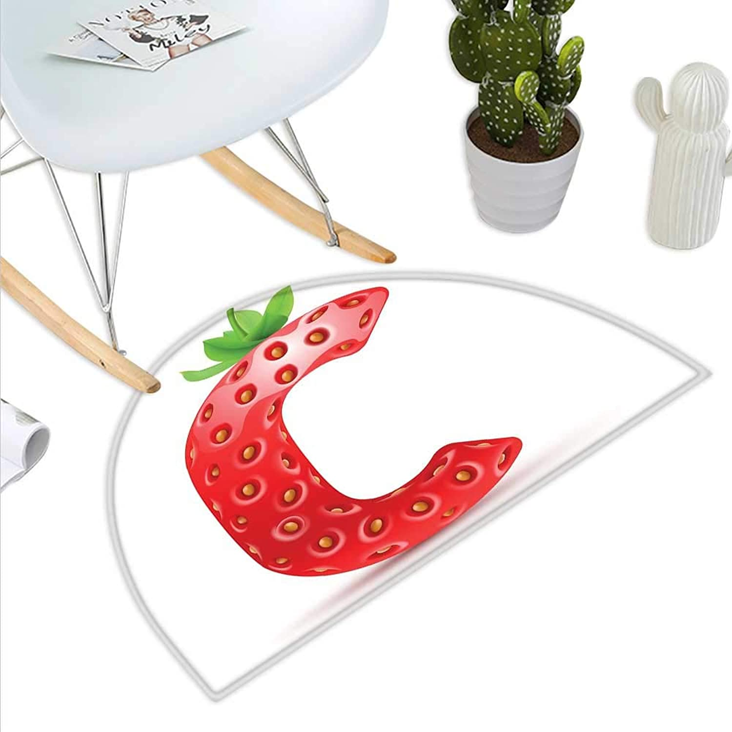 Letter C Half Round Door mats Strawberry Letter from Alphabet with Green Leaves Seeds Uppercase C Bathroom Mat H 43.3  xD 64.9  Vermilion Green orange