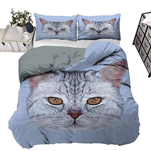 UNOSEKS LANZON Bedding Set Scottish Straight Kitty Portrait Pet Lovely Companion Hipster Animal Graphic Summer Bedding So Soft and Comfy Pale Grey Baby Blue Full - 203 x 230 CM