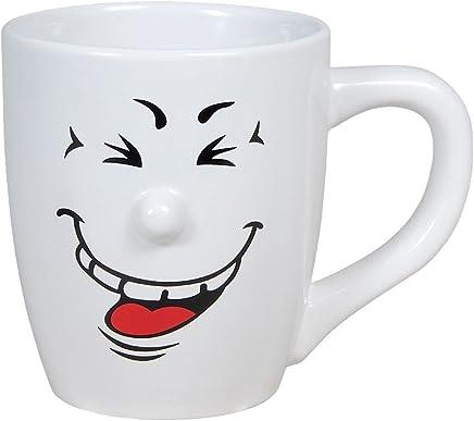 Preisvergleich für Smiley Tasse Funny Face Smilie Kaffeetasse Kaffeebecher mit Gesicht Porzellan von Alsino 13 x 11 cm, Variante wählen:78/8265-3