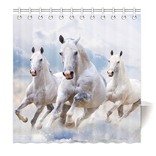 YISUMEI Hem Gewichte Vorhang Duschvorhang Mode Duschvorhänge 180x200 cm Weiß Pferd Laufendes