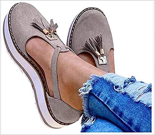 LONG-M Sandalias Planas con Punta Redonda Y Flecos para Mujer, Zapatos De Suela Gruesa con Estampado De Leopardo, Informales, para Playa,Gris,43
