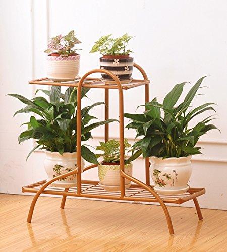 ZENGAI Blumentreppe Blumenregal Eisenprodukt Mehrzweck Anti-Rost modern Ausstellungsstand Metall 3 Farben, lang 54,5x hoch 49,5cm (Farbe : Bronze)