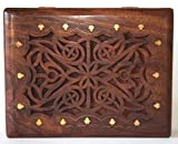 Ajuny Caja grande de madera celta del tesoro
