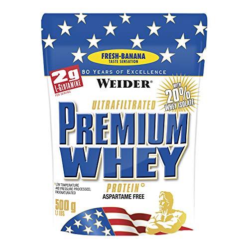 Weider Premium Whey Proteinpulver, Low Carb Proteinshakes mit Whey Protein Isolat, Banane, (1x 500g)