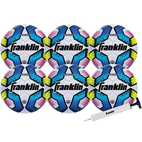 Franklin Sports Futsal Ball - Official Size Futsal Soccer Ball - Indoor and Outdoor Futsal Ball - Size 4-6 Pack with Pump
