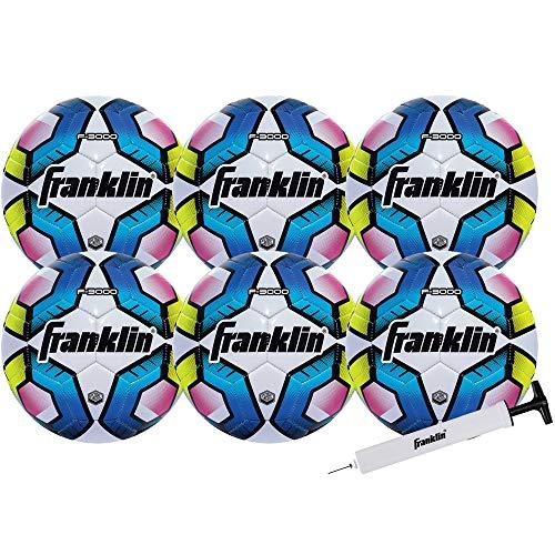 Franklin Sports Futsal Ball – Offizielle Größe Futsal-Fußball – Indoor und Outdoor Futsal-Ball – Größe 4 – 6er-Pack mit Pumpe