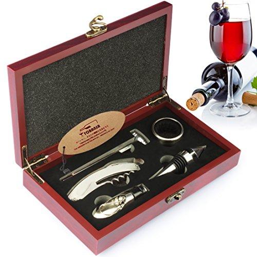 YOBANSA Holzkiste Weinzubehör Geschenkset, Weinöffner, Weinverschluss, Weinausgießer, Weinring und Thermometer