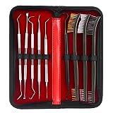 FUNANASUN 9-Pack Gun Kit Set with 3 Double-Ended Brushes & 6 Double-Ended Picks Stainless Steel Picks Brass Steel Nylon Brushes